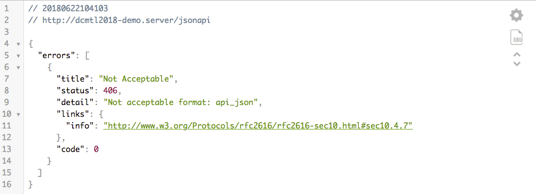 JSON API - 406 error